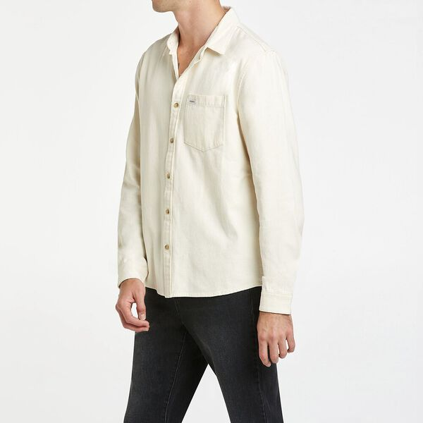 Long sleeve Relaxed Shirt, Ecru Twill, hi-res