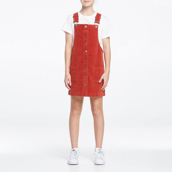 Cord Dungaree Dress Redwood, REDWOOD, hi-res