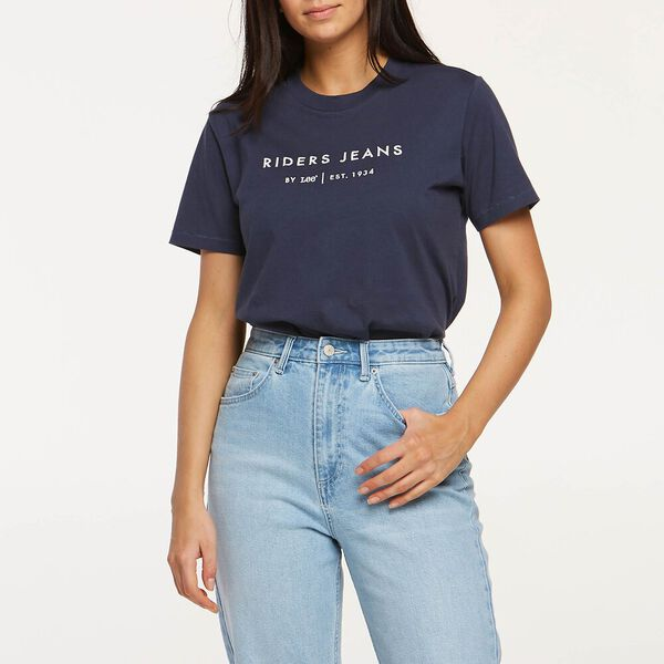 Womens Relaxed Scoop Tee Navy Worn