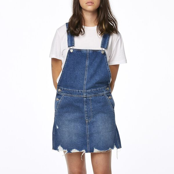 Slimline Dungaree Skirt Slacker Blue