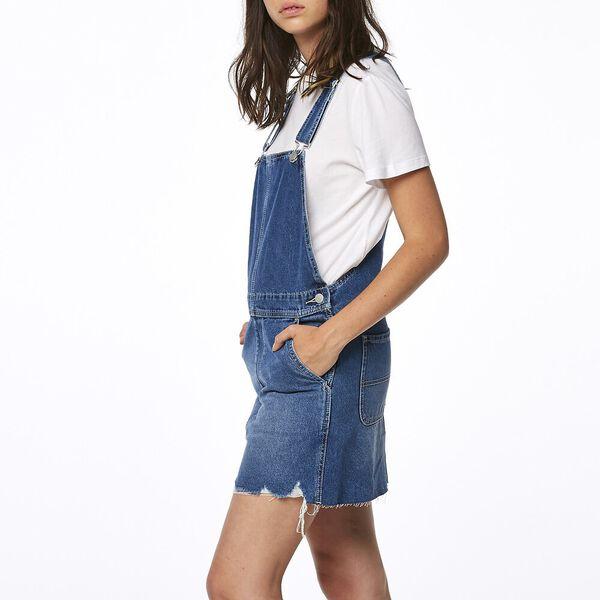 Slimline Dungaree Skirt Slacker Blue, SLACKER BLUE, hi-res
